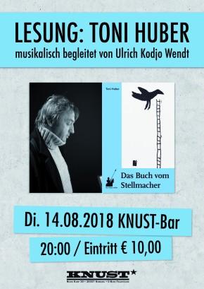 LESUNG: TONI HUBER – musikalisch begleitet von Ulrich Kodjo Wendt
